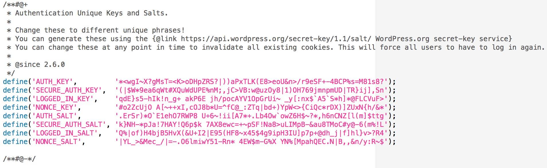 Add Keys to wpconfig.php
