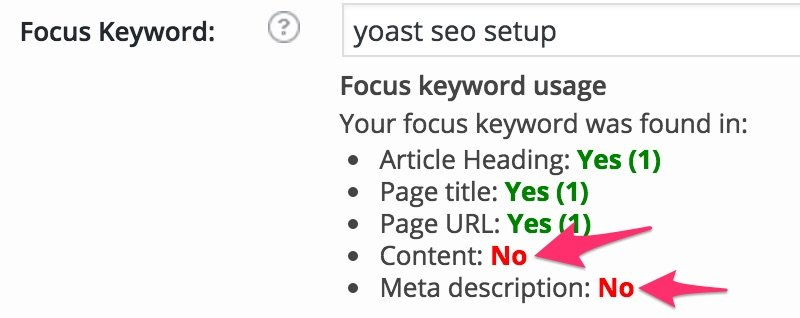 yoast seo setup focus keyword tips